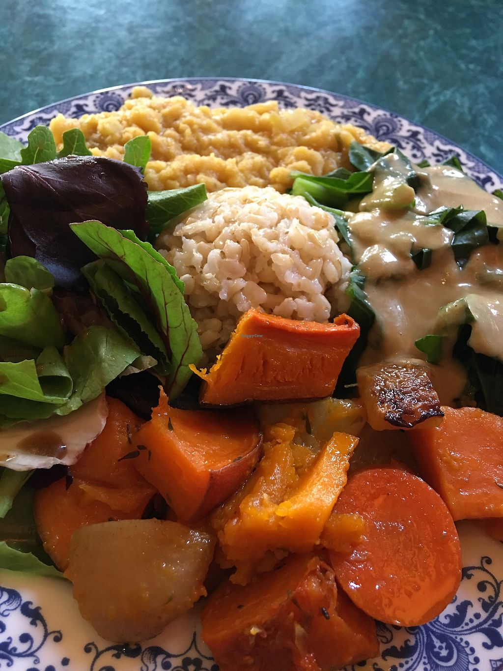 """Photo of Potala Organic Cafe  by <a href=""""/members/profile/dvcucsc"""">dvcucsc</a> <br/>This is the size of the medium plate.  Includes soup too <br/> January 1, 2018  - <a href='/contact/abuse/image/29240/341799'>Report</a>"""