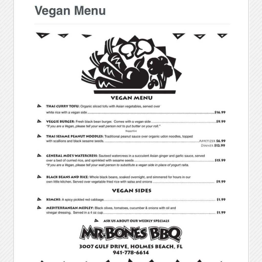 "Photo of Mr Bones BBQ  by <a href=""/members/profile/SarasotaKevin"">SarasotaKevin</a> <br/>Vegan Menu <br/> April 23, 2016  - <a href='/contact/abuse/image/29250/145928'>Report</a>"