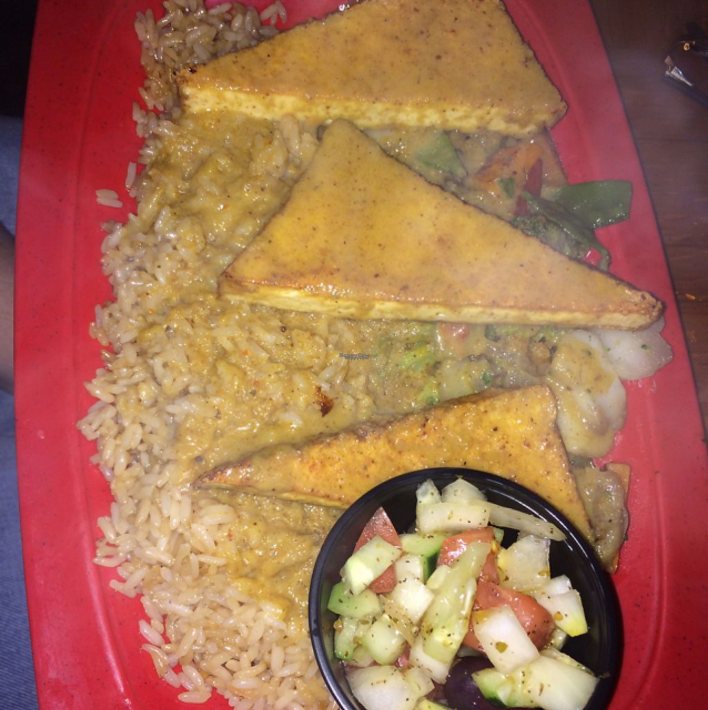 """Photo of Mr Bones BBQ  by <a href=""""/members/profile/trisangelina"""">trisangelina</a> <br/>tofu with rice, veggies and mediterranean side dish <br/> February 22, 2017  - <a href='/contact/abuse/image/29250/229076'>Report</a>"""