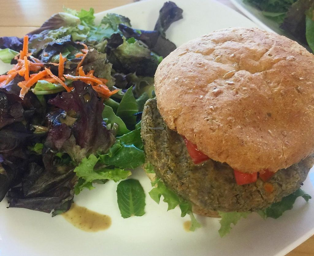 "Photo of Food For Thought Cafe  by <a href=""/members/profile/SarahKirby"">SarahKirby</a> <br/>Falafel Burger <br/> May 13, 2015  - <a href='/contact/abuse/image/29292/194499'>Report</a>"