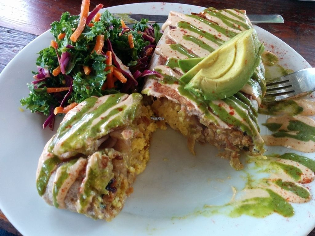 """Photo of CLOSED: A N D Cafe  by <a href=""""/members/profile/MizzB"""">MizzB</a> <br/>Super Vegano Burrito. Delicious pepper kale tofu, sausage, hash browns, mozzarella, avocado, cashew cream. Salad - kale, red cabbage, carrots in a citrusy dressing. So good & filling.  <br/> October 1, 2016  - <a href='/contact/abuse/image/29296/178992'>Report</a>"""