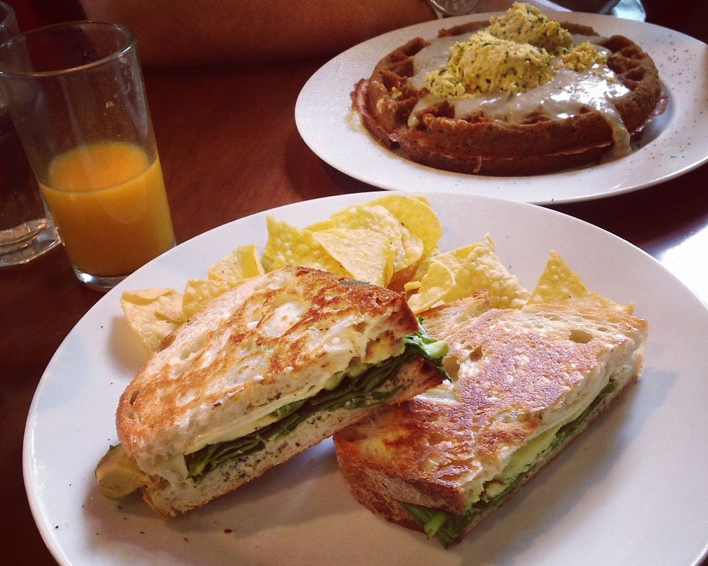 """Photo of CLOSED: A N D Cafe  by <a href=""""/members/profile/Raesock"""">Raesock</a> <br/>Veggie grilled cheese and the Feast waffle with gravy and tofu scramble <br/> November 1, 2015  - <a href='/contact/abuse/image/29296/194640'>Report</a>"""