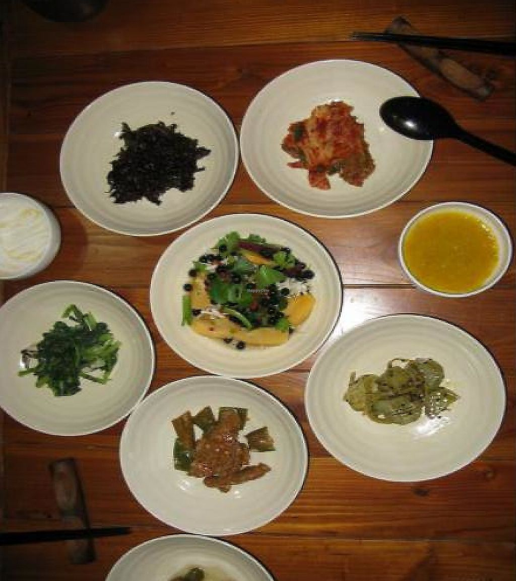 """Photo of Mulmaegol  by <a href=""""/members/profile/ahkow"""">ahkow</a> <br/>The banchan (side dishes): vegetables, salad, seaweed, kimchi, sweet potato, pumpkin soup <br/> December 1, 2011  - <a href='/contact/abuse/image/29299/400897'>Report</a>"""