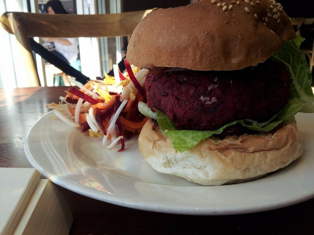 """Photo of Veggie Mama  by <a href=""""/members/profile/cseneque"""">cseneque</a> <br/>Beetroot and bean burger <br/> July 30, 2016  - <a href='/contact/abuse/image/29321/163280'>Report</a>"""