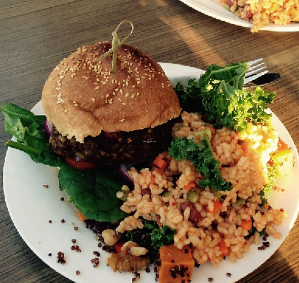 """Photo of Veggie Mama  by <a href=""""/members/profile/Misanthropia"""">Misanthropia</a> <br/>Burger and falafel  <br/> September 17, 2015  - <a href='/contact/abuse/image/29321/194782'>Report</a>"""