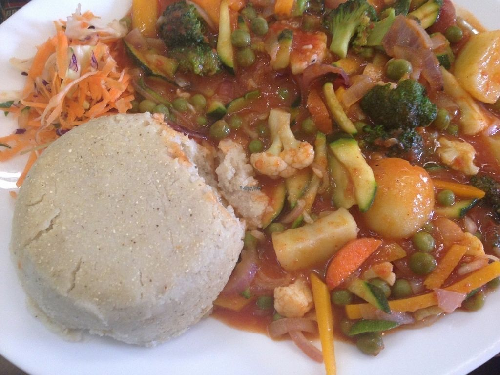 """Photo of Bridges Organic Health Restaurant  by <a href=""""/members/profile/anniemaggiemay"""">anniemaggiemay</a> <br/>Veg Curry with Ugali <br/> September 10, 2016  - <a href='/contact/abuse/image/29336/174896'>Report</a>"""