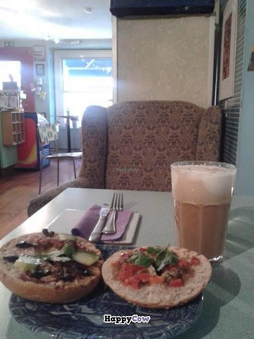 """Photo of CLOSED: Hugos Kaffe  by <a href=""""/members/profile/saramarshall"""">saramarshall</a> <br/>Vegan bagel & soya latte <br/> November 12, 2013  - <a href='/contact/abuse/image/29357/58390'>Report</a>"""