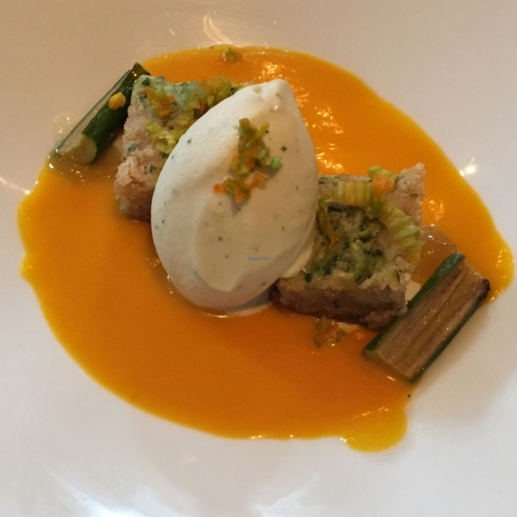 "Photo of Vedge  by <a href=""/members/profile/Kristally"">Kristally</a> <br/>zucchini blondie with rosemary ice cream and squash blossom gazpacho <br/> June 26, 2016  - <a href='/contact/abuse/image/29361/156118'>Report</a>"
