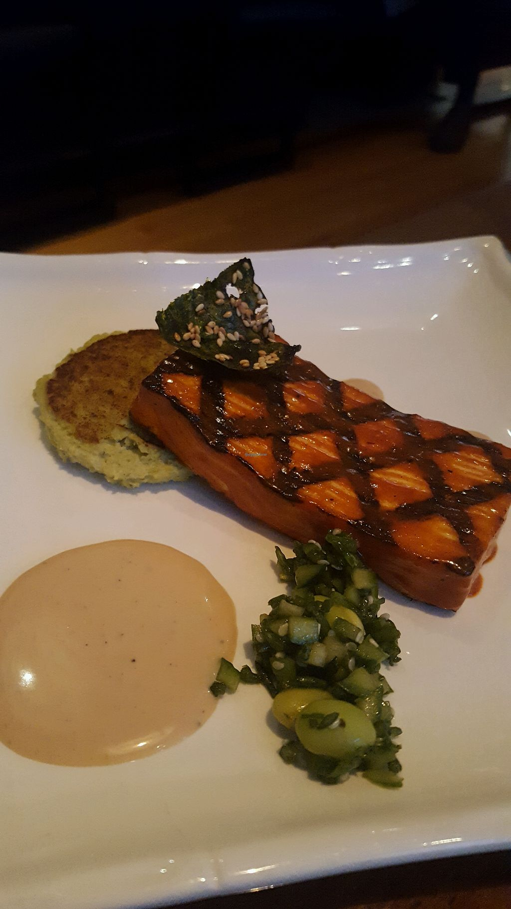 "Photo of Vedge  by <a href=""/members/profile/VeganScientist"">VeganScientist</a> <br/>tofu and edamame puree, very charred flavor <br/> May 25, 2018  - <a href='/contact/abuse/image/29361/404663'>Report</a>"