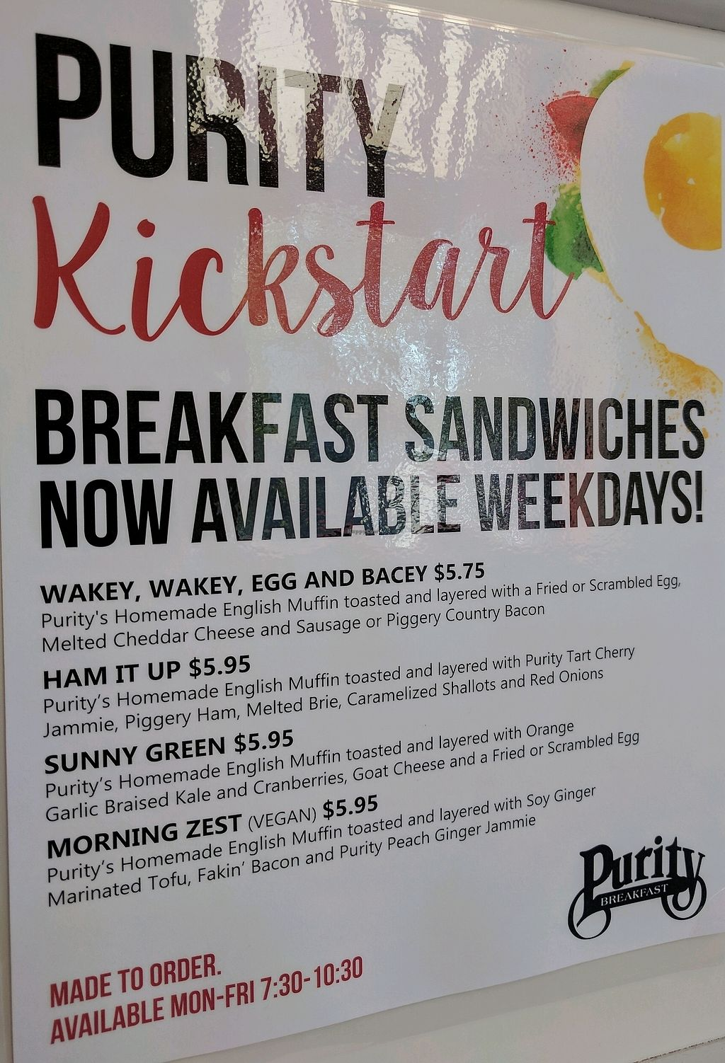 """Photo of Purity Ice Cream  by <a href=""""/members/profile/Chickadee"""">Chickadee</a> <br/>breakfast menu with vegan sandwich option <br/> September 24, 2017  - <a href='/contact/abuse/image/29364/307831'>Report</a>"""