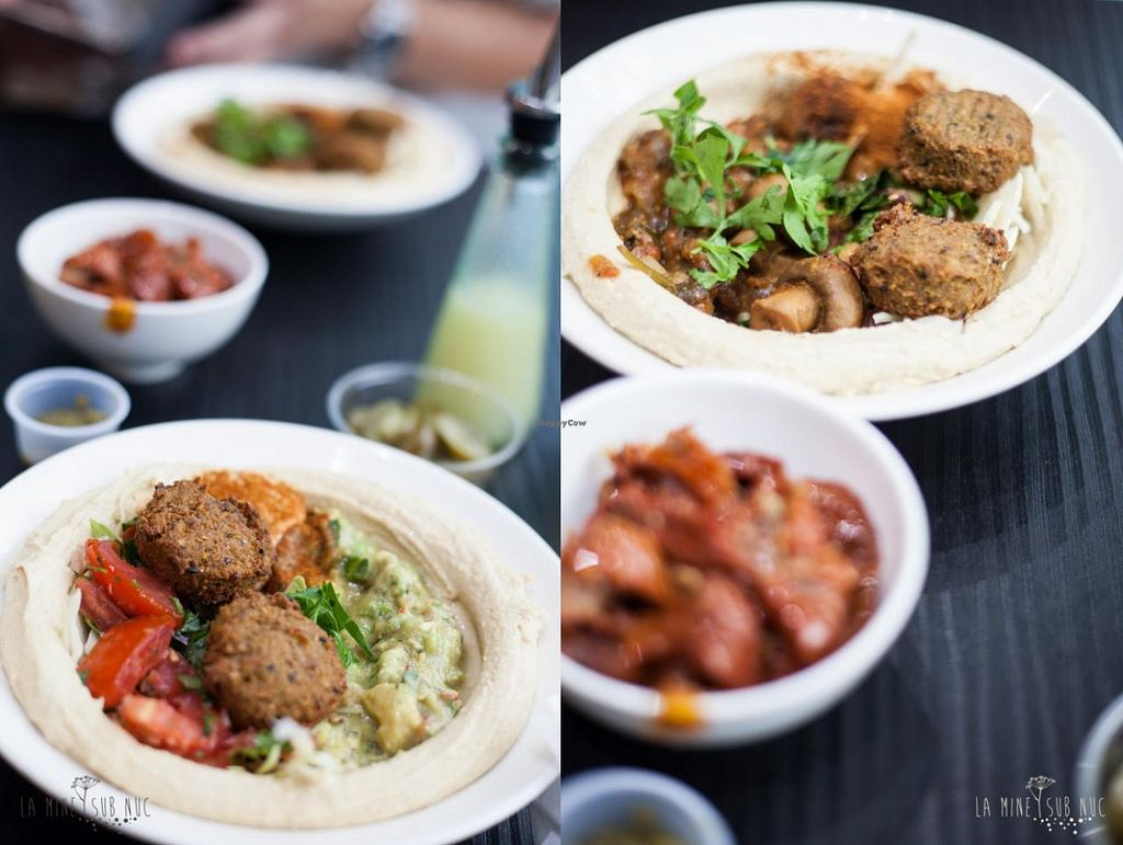 """Photo of Hummus Bros  Soho  by <a href=""""/members/profile/ilinca"""">ilinca</a> <br/>Hummus with a selection of vegan toppings. Good but not surprising, could do better at home <br/> August 16, 2014  - <a href='/contact/abuse/image/29381/77156'>Report</a>"""