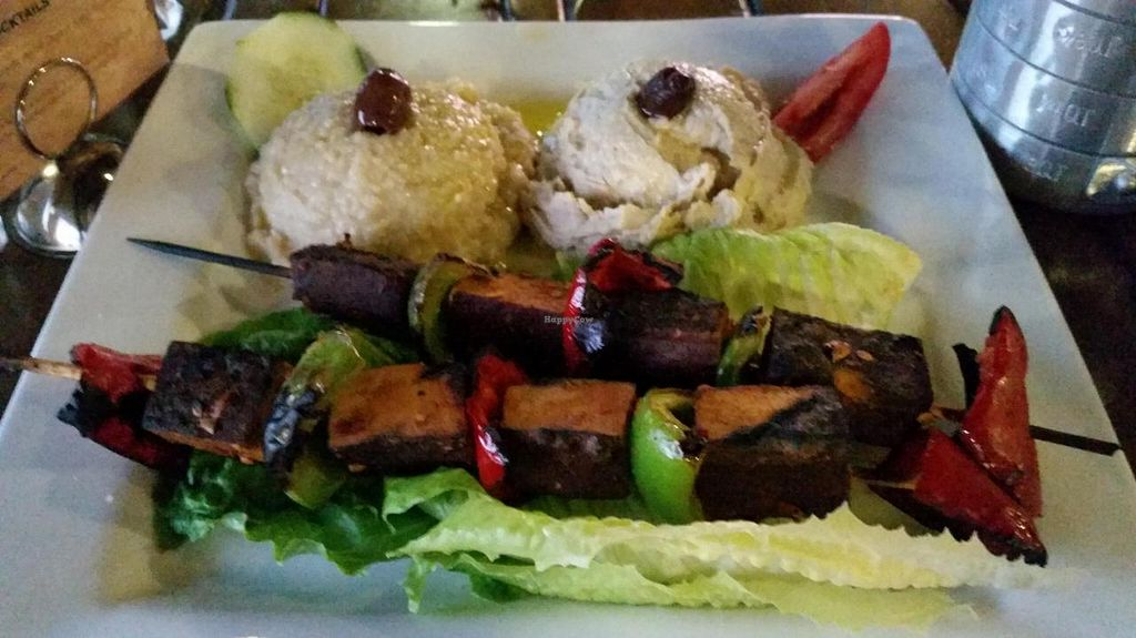 """Photo of CLOSED: Herb n Flavors  by <a href=""""/members/profile/Imriela"""">Imriela</a> <br/>Tofu kabob, hummus, and babaganoush  <br/> July 30, 2014  - <a href='/contact/abuse/image/29402/75591'>Report</a>"""