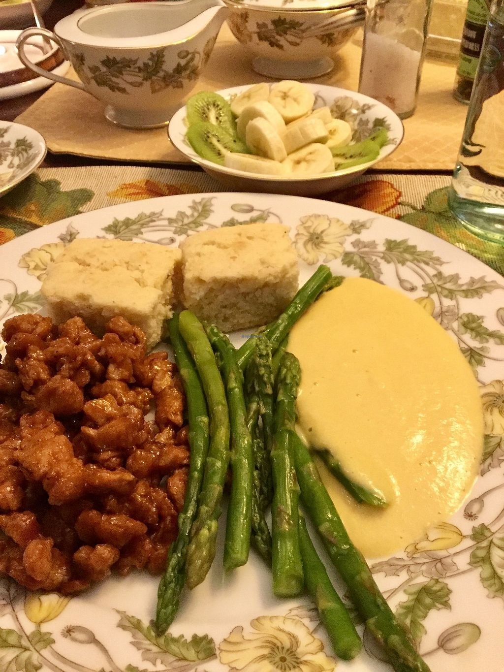 """Photo of The Cherokee Rose Inn  by <a href=""""/members/profile/eveyxvx"""">eveyxvx</a> <br/>BBQ soy curls, cornbread, asparagus, cashew cheese sauce <br/> October 27, 2017  - <a href='/contact/abuse/image/29423/319280'>Report</a>"""