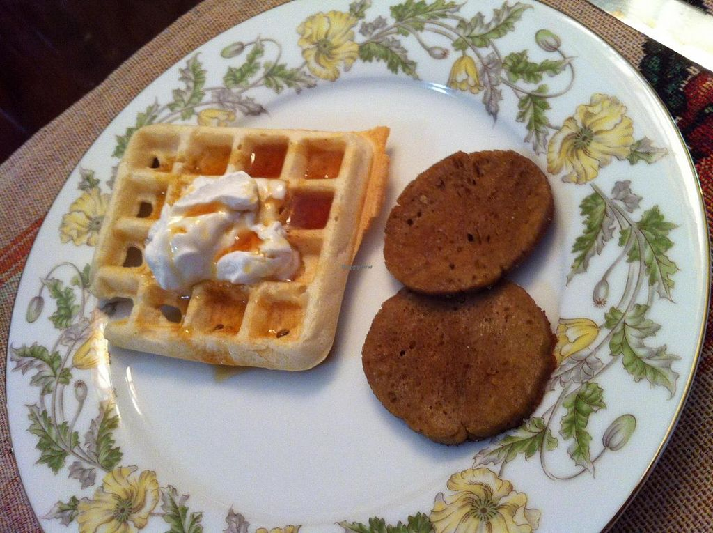 """Photo of The Cherokee Rose Inn  by <a href=""""/members/profile/Posi%20Britt"""">Posi Britt</a> <br/>Waffles and sausage! <br/> June 25, 2014  - <a href='/contact/abuse/image/29423/72773'>Report</a>"""