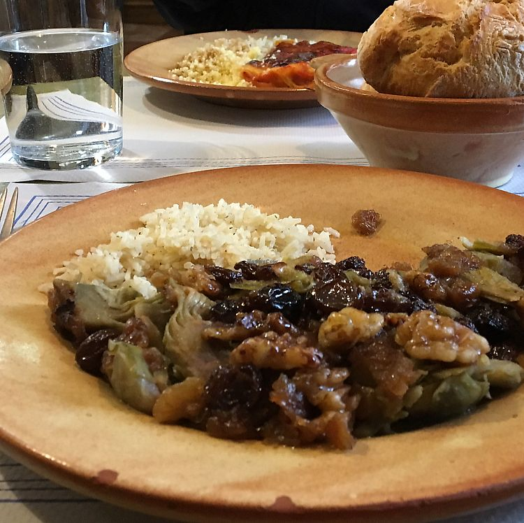 "Photo of Twist Cafe and Vegetal  by <a href=""/members/profile/Vegangypsy"">Vegangypsy</a> <br/>Artichokes with walnuts and raisins served with rice <br/> June 14, 2017  - <a href='/contact/abuse/image/29437/268893'>Report</a>"