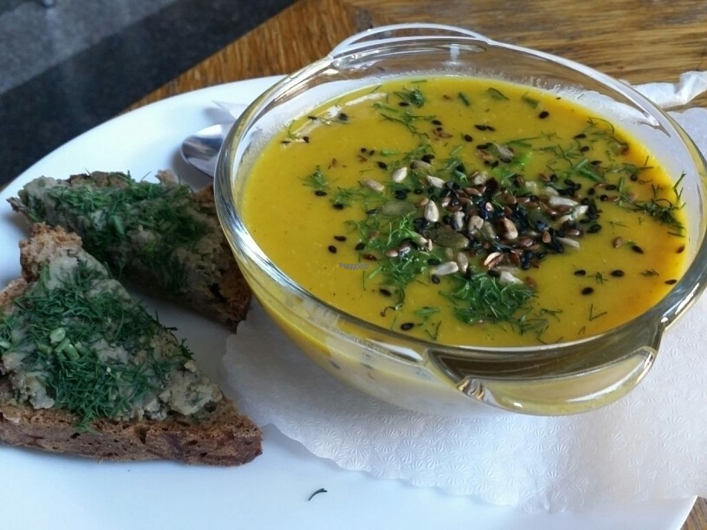 """Photo of Vegedajnia Nalanda  by <a href=""""/members/profile/eric"""">eric</a> <br/>pumpkin soup and bread <br/> August 19, 2016  - <a href='/contact/abuse/image/29472/169925'>Report</a>"""