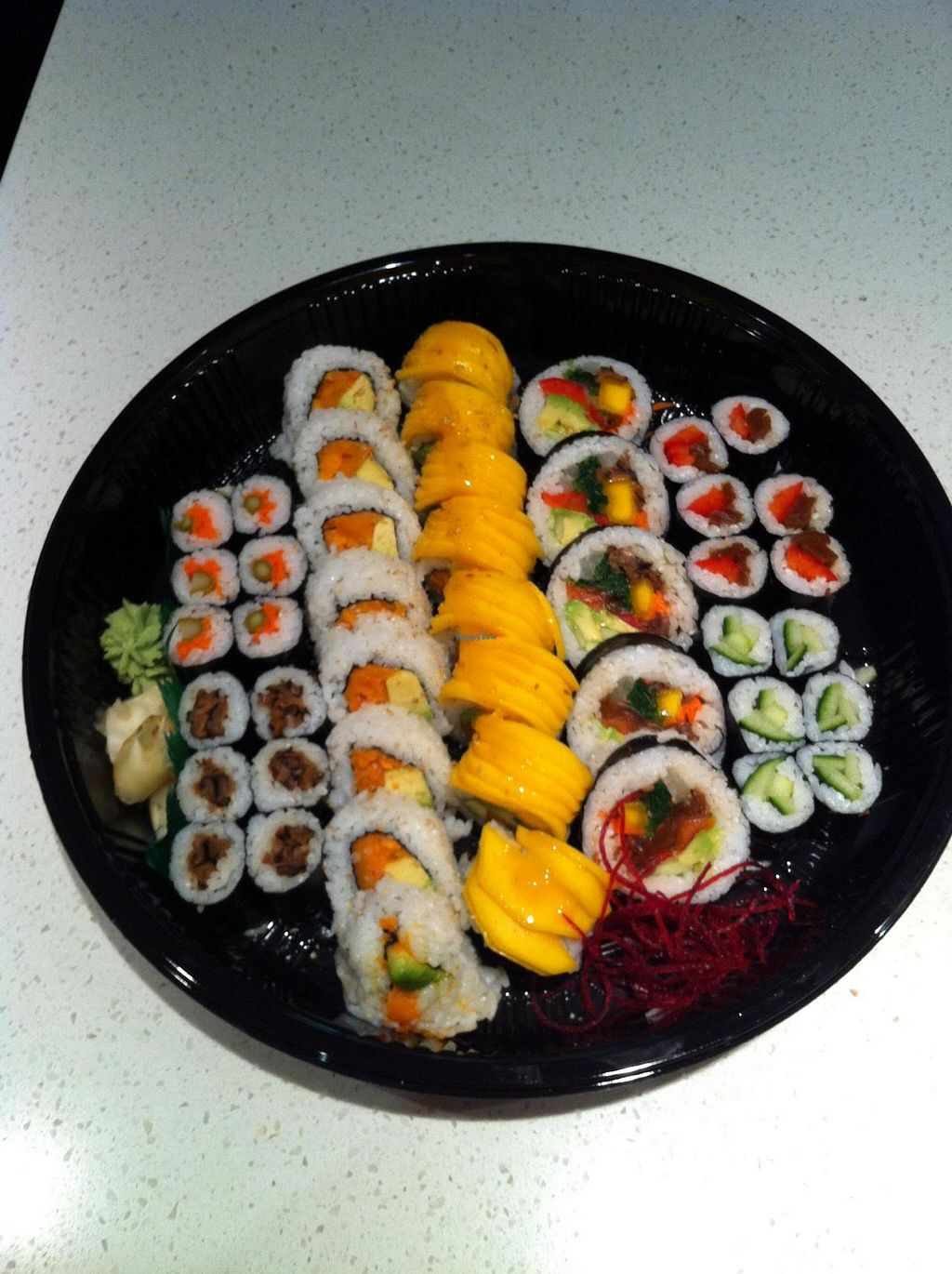 """Photo of Sushi Gallery  by <a href=""""/members/profile/vegan%20frog"""">vegan frog</a> <br/>Vegan platter <br/> June 7, 2015  - <a href='/contact/abuse/image/29495/105006'>Report</a>"""