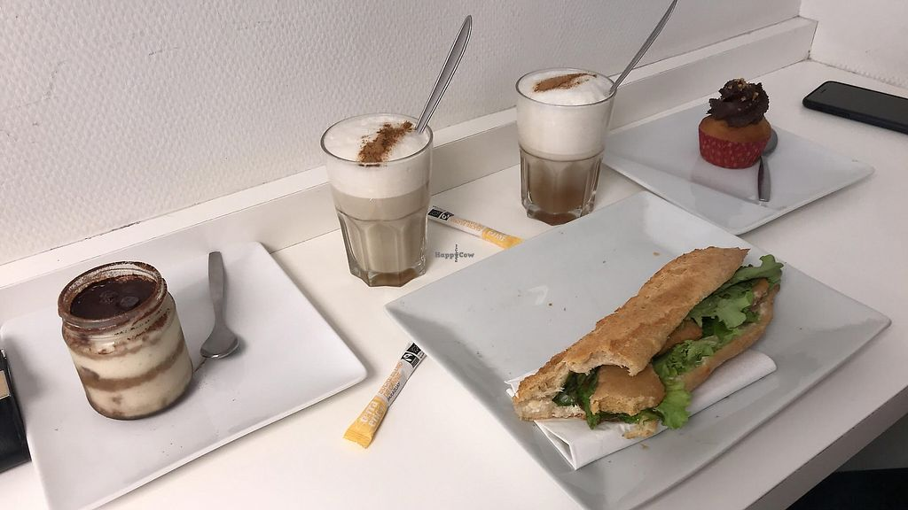 """Photo of Vegan Folie's  by <a href=""""/members/profile/kipear"""">kipear</a> <br/>Chick'n and vegan mayo baguettes, tiramisu, chocolate cupcake and chai lattes! <br/> October 14, 2017  - <a href='/contact/abuse/image/29521/369946'>Report</a>"""