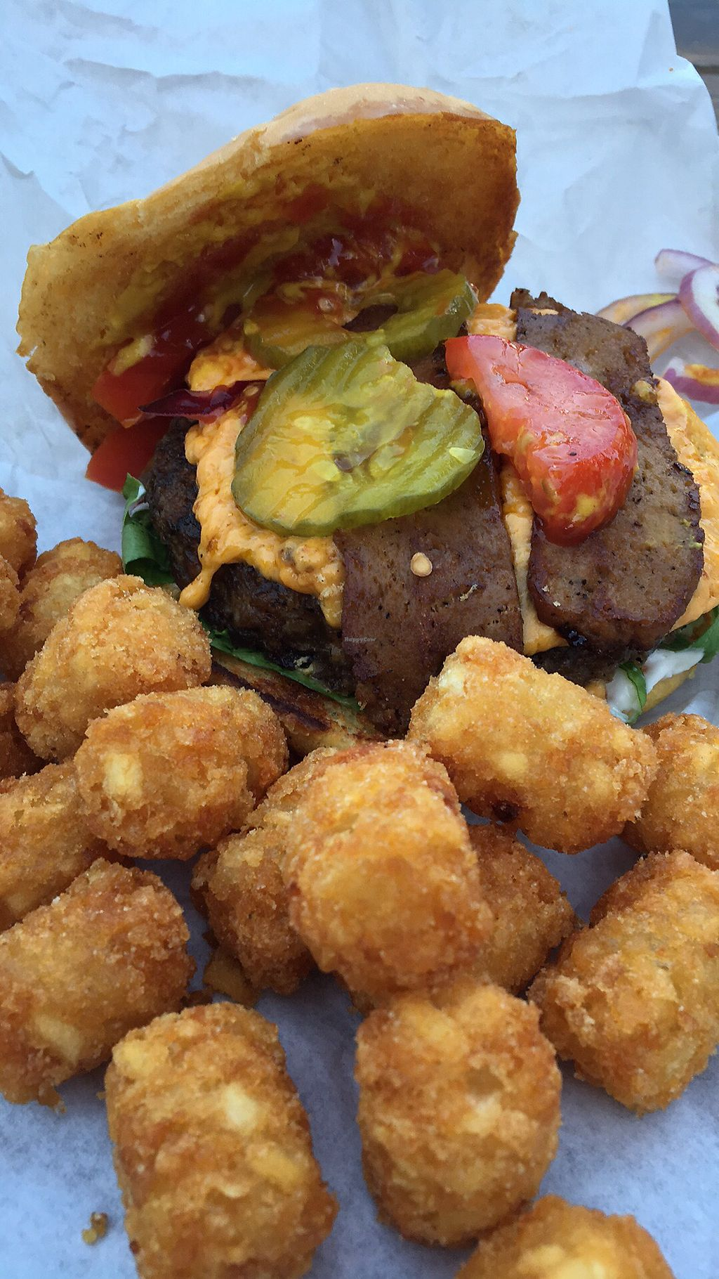 """Photo of Arlo's Food Truck - Cheerup Charlie's  by <a href=""""/members/profile/LeahLinJones"""">LeahLinJones</a> <br/>Bac'n Cheeze Burger <br/> July 1, 2017  - <a href='/contact/abuse/image/29535/275353'>Report</a>"""