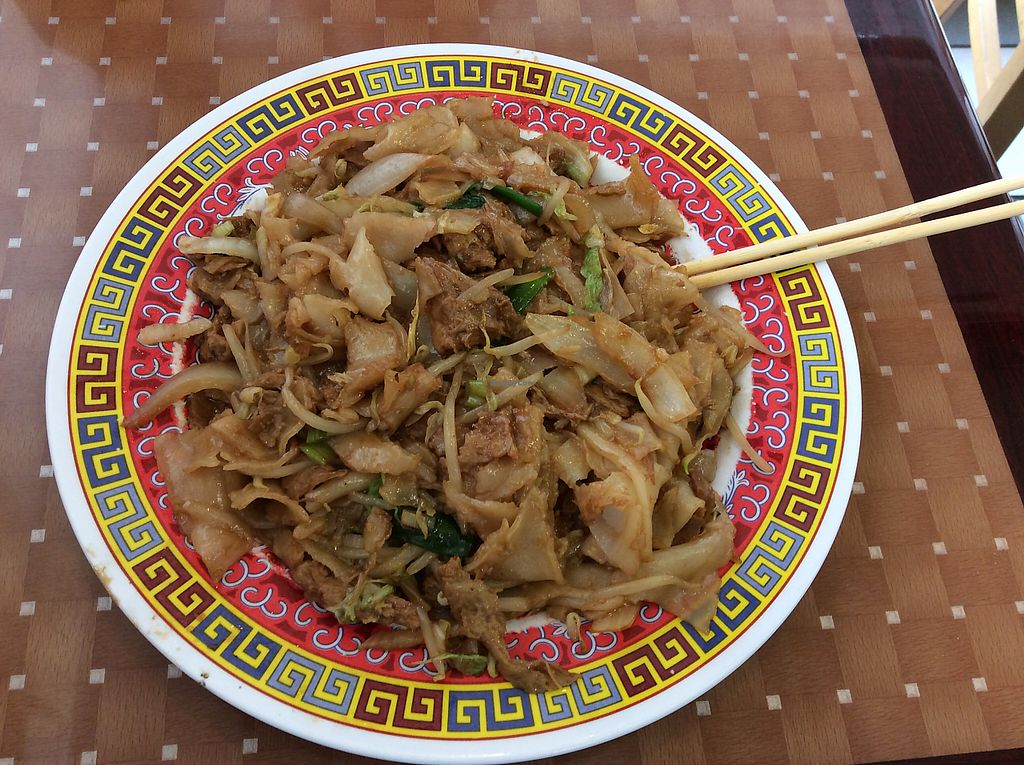 """Photo of China Moon  by <a href=""""/members/profile/vegangelic"""">vegangelic</a> <br/>chow fun with faux chicken (this is half my portion!) <br/> May 26, 2017  - <a href='/contact/abuse/image/29591/262557'>Report</a>"""