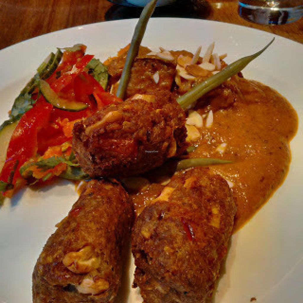 "Photo of David Bann Restaurant  by <a href=""/members/profile/Veganolive1"">Veganolive1</a> <br/>Aubergine and chickpea koftas  <br/> July 25, 2016  - <a href='/contact/abuse/image/2961/162307'>Report</a>"