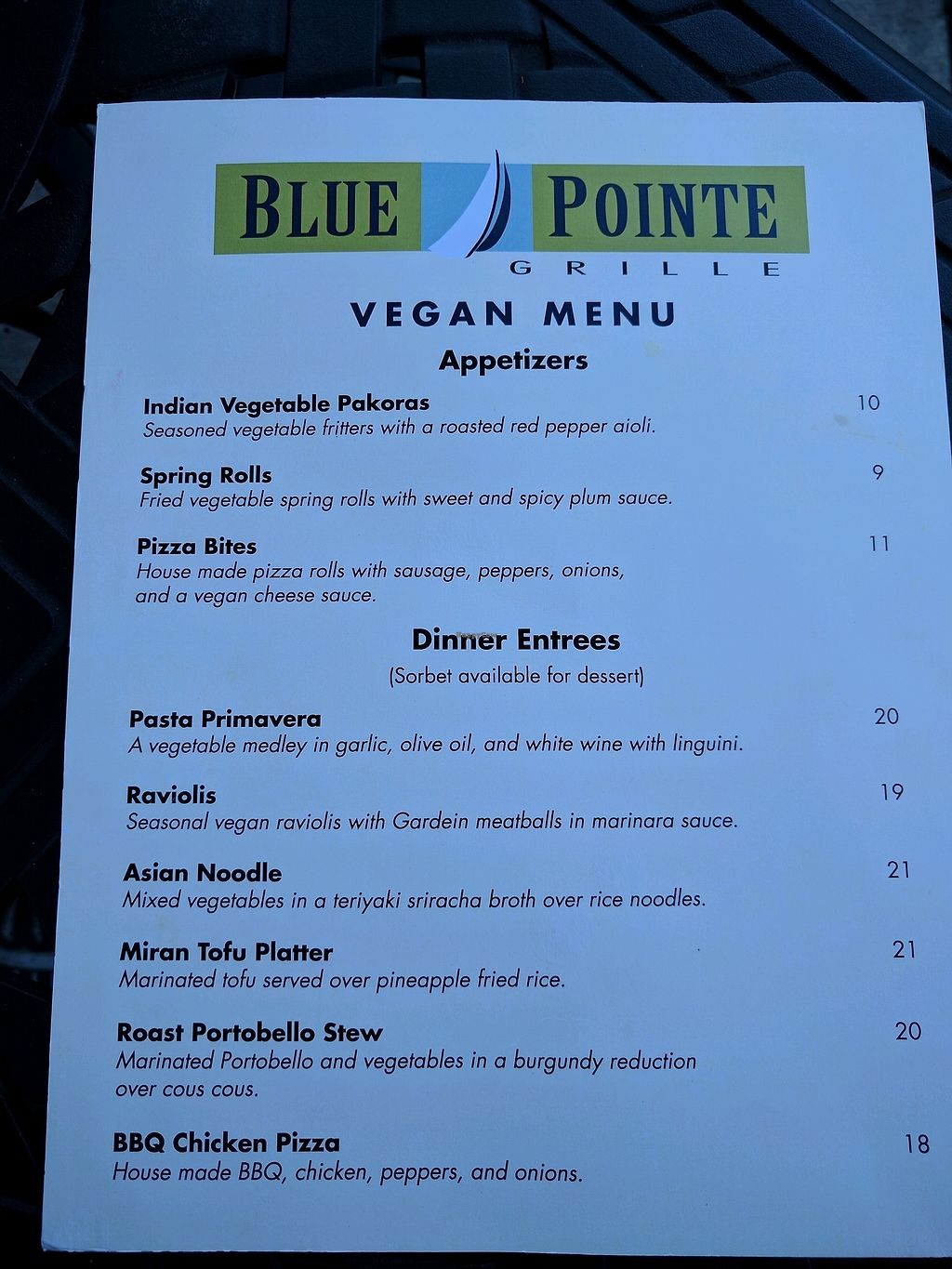 """Photo of Blue Pointe Grille  by <a href=""""/members/profile/Chickadee"""">Chickadee</a> <br/>vegan menu as of 9/23/17 <br/> September 23, 2017  - <a href='/contact/abuse/image/29731/307583'>Report</a>"""