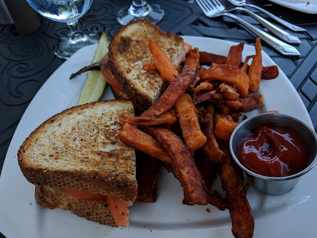 """Photo of Blue Pointe Grille  by <a href=""""/members/profile/Chickadee"""">Chickadee</a> <br/>vegan portobello sandwich and sweet potato fries <br/> September 23, 2017  - <a href='/contact/abuse/image/29731/307584'>Report</a>"""