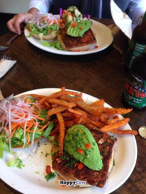 """Photo of CLOSED: Native Foods - Newport Beach  by <a href=""""/members/profile/castle31"""">castle31</a> <br/>Scorpion Burger w/Sweet Potato fries  <br/> December 1, 2013  - <a href='/contact/abuse/image/29791/59649'>Report</a>"""