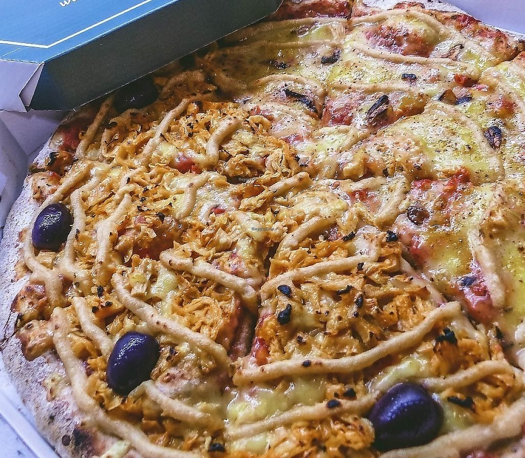 """Photo of Francesca Pizzaria - Vila Planalto  by <a href=""""/members/profile/jvcbrasil"""">jvcbrasil</a> <br/>Half Vegan """"chicken"""" with tofupiry cheese  Half four vegan cheeses <br/> March 11, 2017  - <a href='/contact/abuse/image/29826/298031'>Report</a>"""