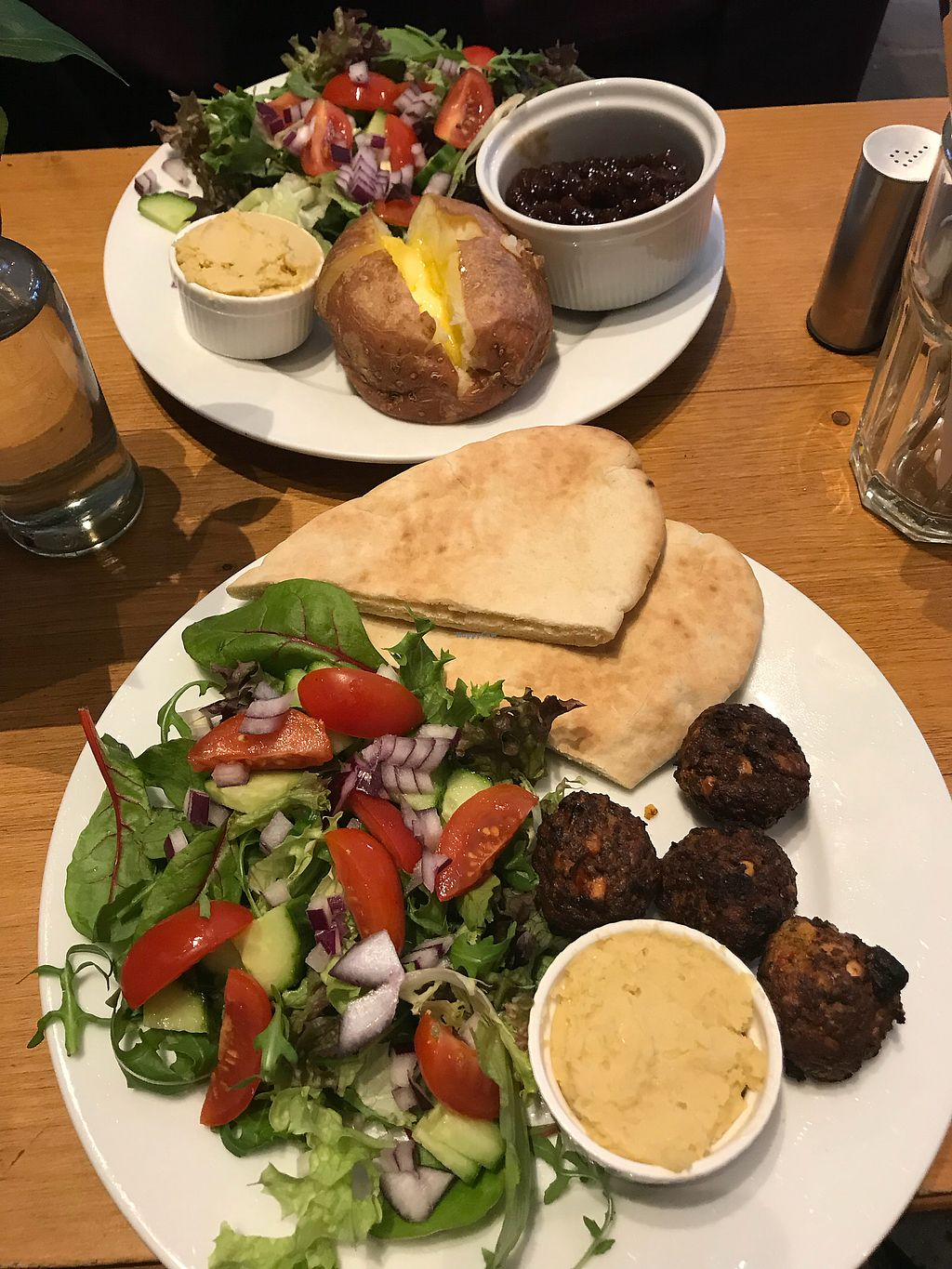 """Photo of World Peace Cafe  by <a href=""""/members/profile/AndyWoolston"""">AndyWoolston</a> <br/>Jacket potato + falafel, hummus and pitta <br/> December 19, 2017  - <a href='/contact/abuse/image/29858/337273'>Report</a>"""
