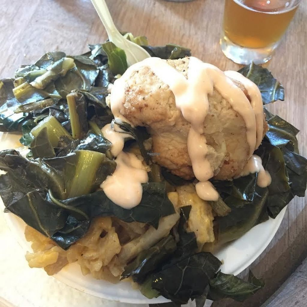 """Photo of Southern Fried Vegan BBQ  by <a href=""""/members/profile/JessicaMerced"""">JessicaMerced</a> <br/>hardly fried chicken, salty greens, bland diaya mac and cheeese <br/> August 10, 2016  - <a href='/contact/abuse/image/29946/167539'>Report</a>"""