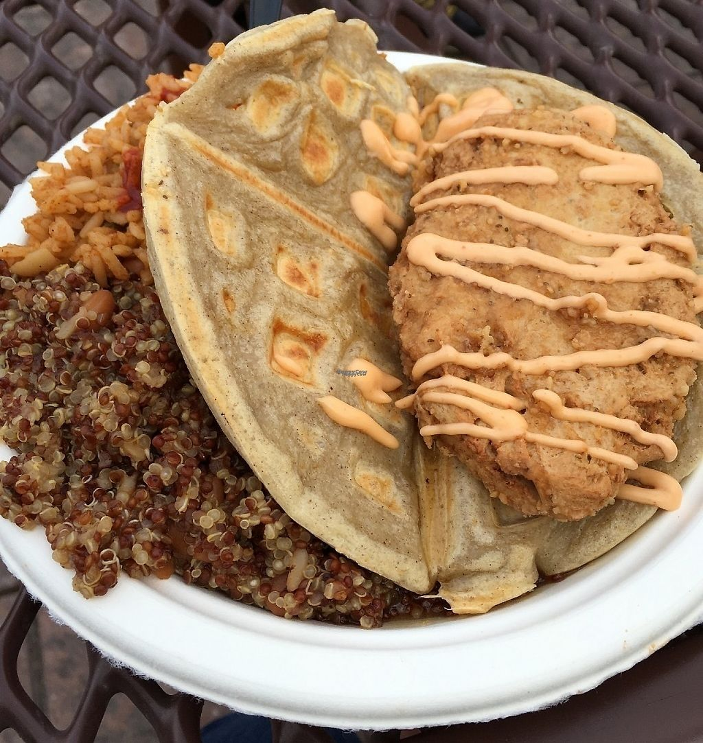 """Photo of Southern Fried Vegan BBQ  by <a href=""""/members/profile/Tigra220"""">Tigra220</a> <br/>Fried Chicken Waffle Sandwich (AZVFF Jan 2016 -Day 2) <br/> March 11, 2017  - <a href='/contact/abuse/image/29946/235039'>Report</a>"""