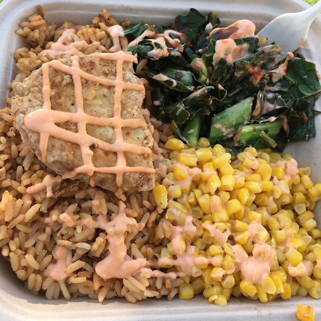 """Photo of Southern Fried Vegan BBQ  by <a href=""""/members/profile/Tigra220"""">Tigra220</a> <br/>Fried Chicken plate with collard greens, corn, and jambalaya (AZVFF Jan 2016) <br/> March 11, 2017  - <a href='/contact/abuse/image/29946/235041'>Report</a>"""