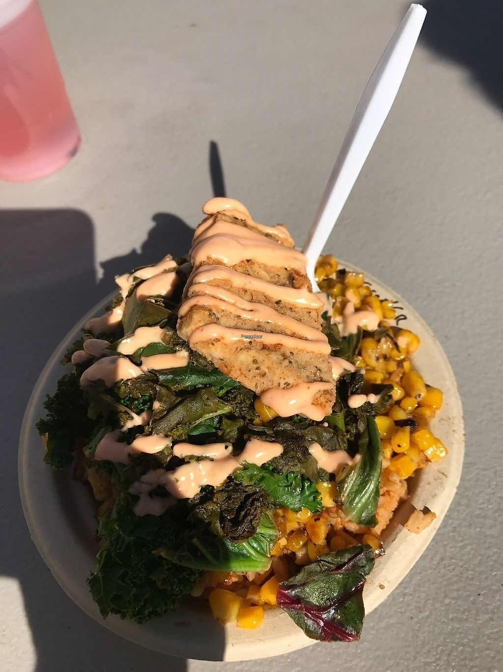 """Photo of Southern Fried Vegan BBQ  by <a href=""""/members/profile/Tigra220"""">Tigra220</a> <br/>Fried Chicken Bowl with Jambalaya, 1/2 greens & 1/2 corn - PHX Vegan Fest; Feb 2017 <br/> March 11, 2017  - <a href='/contact/abuse/image/29946/235042'>Report</a>"""