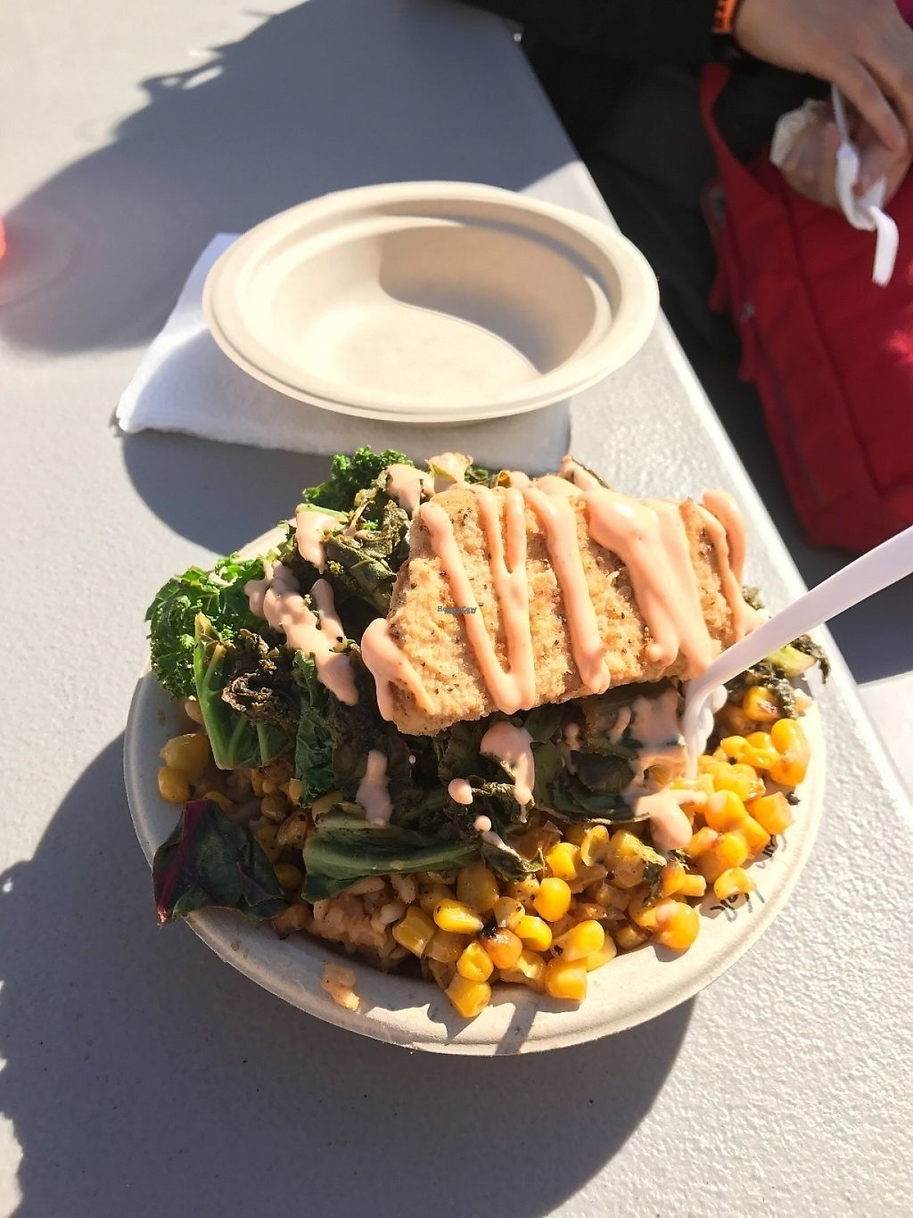 """Photo of Southern Fried Vegan BBQ  by <a href=""""/members/profile/Tigra220"""">Tigra220</a> <br/>Fried Chicken Bowl with Jambalaya, 1/2 greens & 1/2 corn - PHX Vegan Fest; Feb 2017 <br/> March 11, 2017  - <a href='/contact/abuse/image/29946/235043'>Report</a>"""