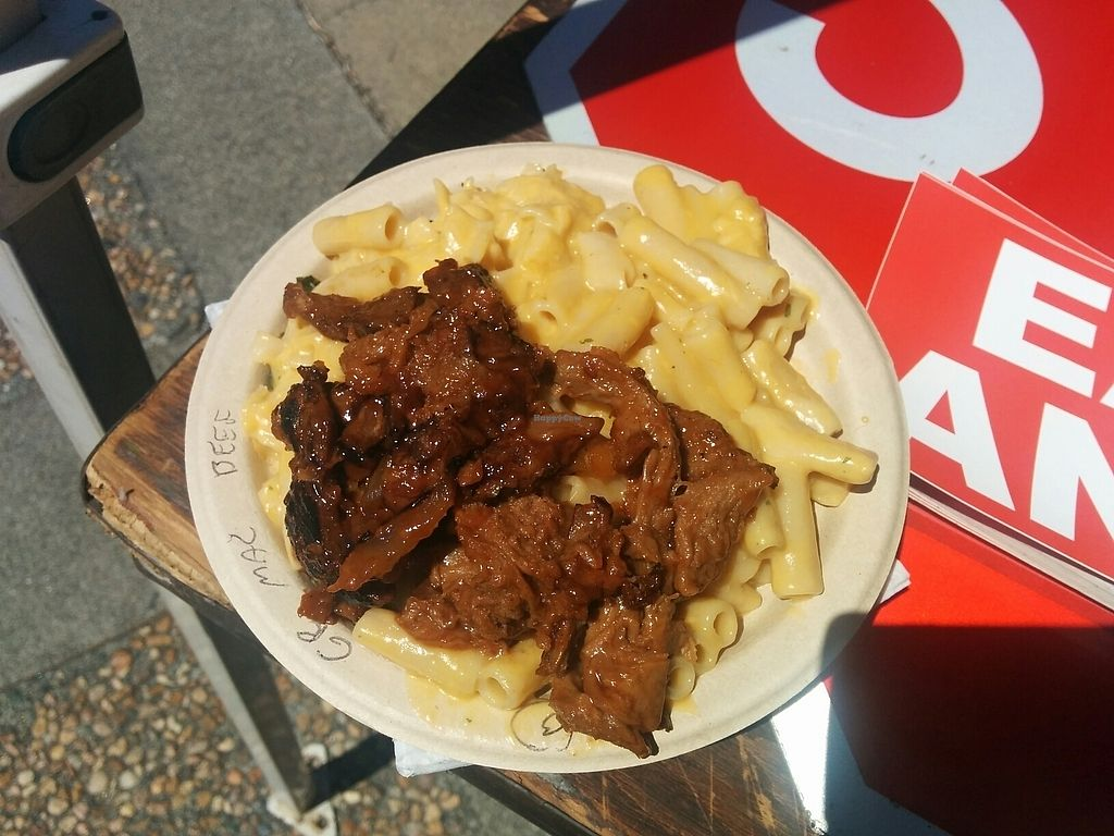 """Photo of Southern Fried Vegan BBQ  by <a href=""""/members/profile/MizzB"""">MizzB</a> <br/>Bowl of BarBQ beef, mac & cheese, greens on the bottom <br/> August 15, 2017  - <a href='/contact/abuse/image/29946/292845'>Report</a>"""