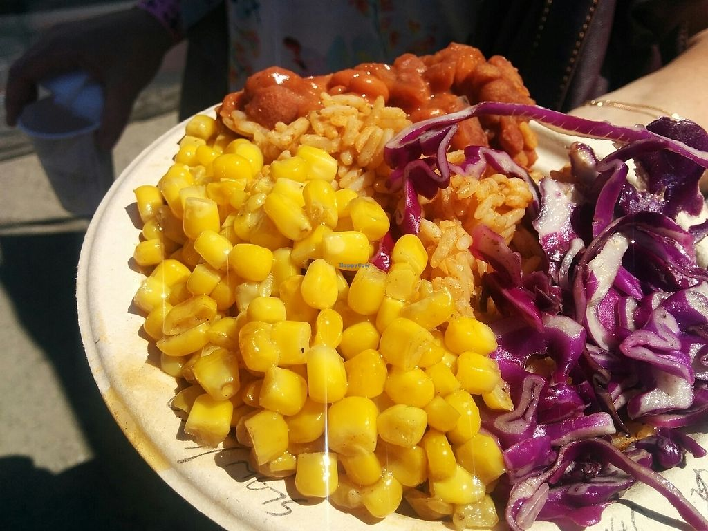 """Photo of Southern Fried Vegan BBQ  by <a href=""""/members/profile/MizzB"""">MizzB</a> <br/>Bowl of corn, salad, chickn <br/> August 15, 2017  - <a href='/contact/abuse/image/29946/292848'>Report</a>"""