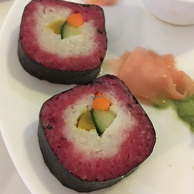"Photo of Loving Hut - Vegansky Svet  by <a href=""/members/profile/emilyfp"">emilyfp</a> <br/>The sushi on offer - not as pictured, gummy texture, and way too sweet.  <br/> June 8, 2017  - <a href='/contact/abuse/image/30008/267109'>Report</a>"