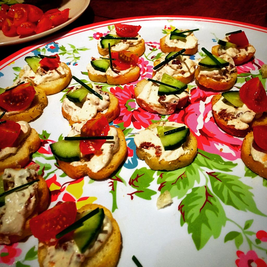 """Photo of Giro's Cafe  by <a href=""""/members/profile/CiaraSlevin"""">CiaraSlevin</a> <br/>cashew nut cream 'cheese' with garlic & sundried tomatoes on crackers <br/> January 27, 2016  - <a href='/contact/abuse/image/30010/133912'>Report</a>"""
