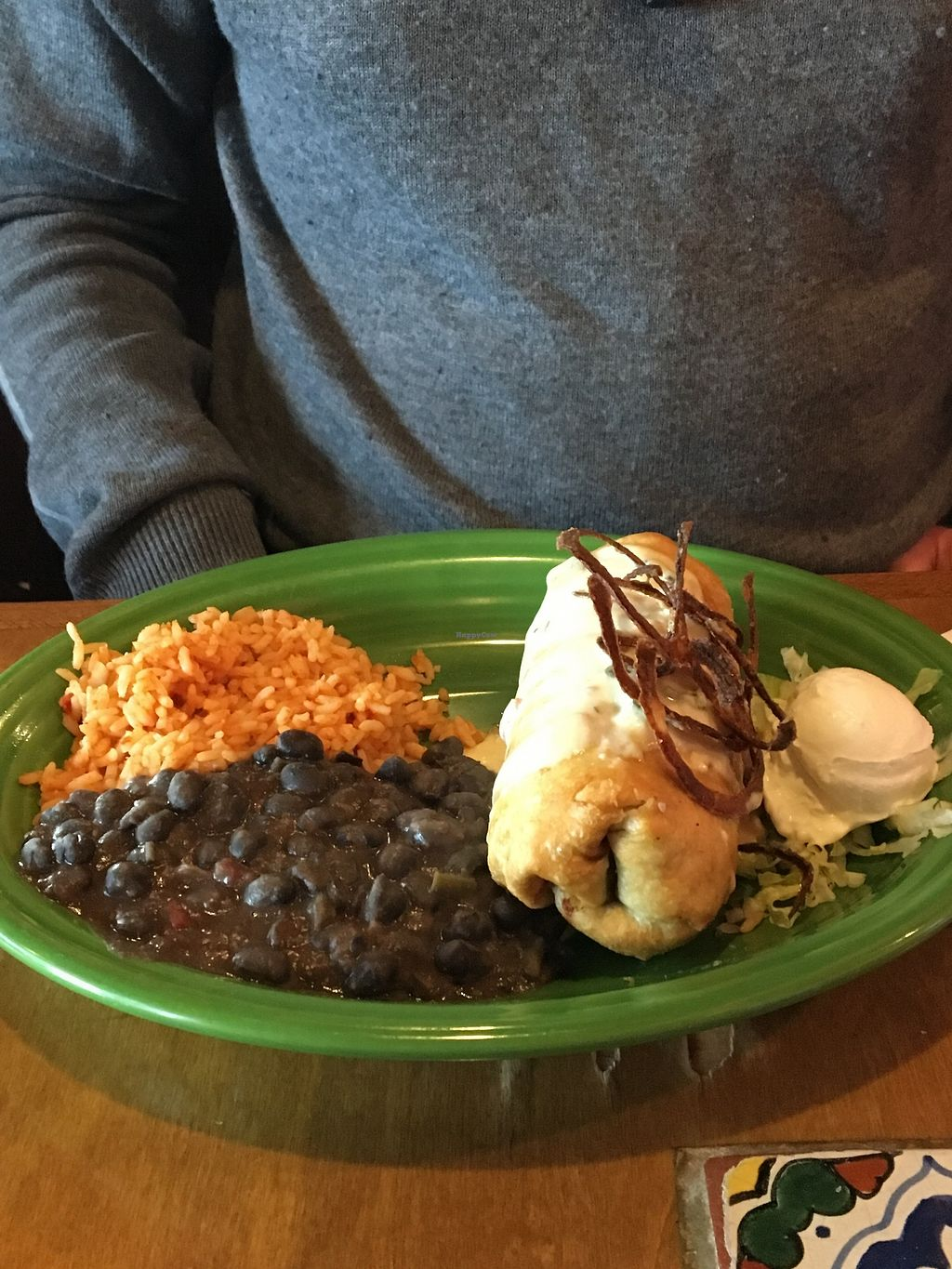 """Photo of Miguel's Mexican Restaurant  by <a href=""""/members/profile/sophiefrenchfry"""">sophiefrenchfry</a> <br/>Vegetarian Chimichanga <br/> June 20, 2017  - <a href='/contact/abuse/image/30051/271506'>Report</a>"""