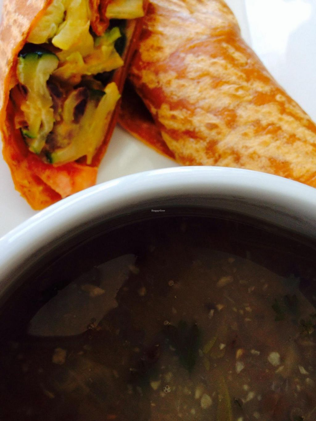 """Photo of CLOSED: Flaxella  by <a href=""""/members/profile/cookiem"""">cookiem</a> <br/>Vegan veggie wrap and vegan lentil soup <br/> August 14, 2014  - <a href='/contact/abuse/image/30165/76915'>Report</a>"""