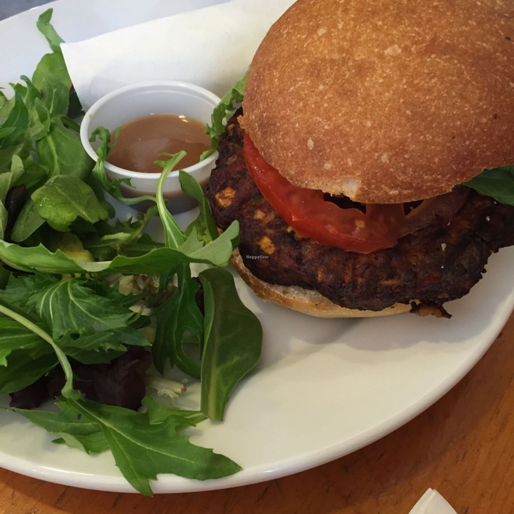 "Photo of Coffee Emporium  by <a href=""/members/profile/happycowgirl"">happycowgirl</a> <br/>black bean burger <br/> February 29, 2016  - <a href='/contact/abuse/image/30206/138201'>Report</a>"