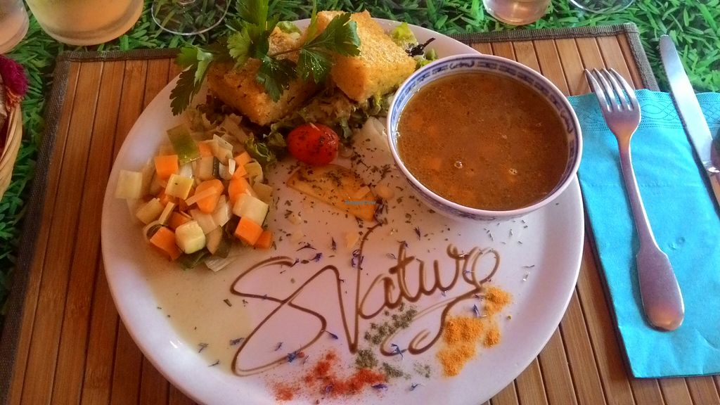 """Photo of Saveurs Nature  by <a href=""""/members/profile/KeepCalmLoveCats"""">KeepCalmLoveCats</a> <br/>Menu: Polenta, jewish soup, salad <br/> November 9, 2015  - <a href='/contact/abuse/image/30281/124418'>Report</a>"""