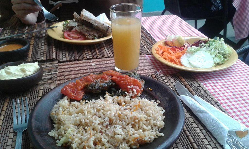 "Photo of Govindas  by <a href=""/members/profile/Vegjules"">Vegjules</a> <br/>Our meal: buñuelos de acelga con salsa de tomate natural, arroz integral con semillas de mostaza, ensalada, pan, zumo <br/> November 28, 2014  - <a href='/contact/abuse/image/30302/86691'>Report</a>"