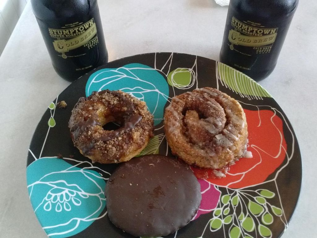 """Photo of Erin McKenna's Bakery  by <a href=""""/members/profile/Sonja%20and%20Dirk"""">Sonja and Dirk</a> <br/>coffee crunch donut, cinnamon roll and thin mint cookie <br/> September 7, 2014  - <a href='/contact/abuse/image/30312/79360'>Report</a>"""
