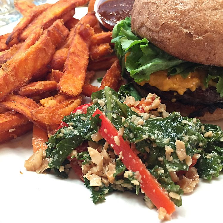 """Photo of Seva - Detroit  by <a href=""""/members/profile/TesiaBeam"""">TesiaBeam</a> <br/>charred tempeh burger with yam fries! <br/> July 6, 2017  - <a href='/contact/abuse/image/30323/277242'>Report</a>"""
