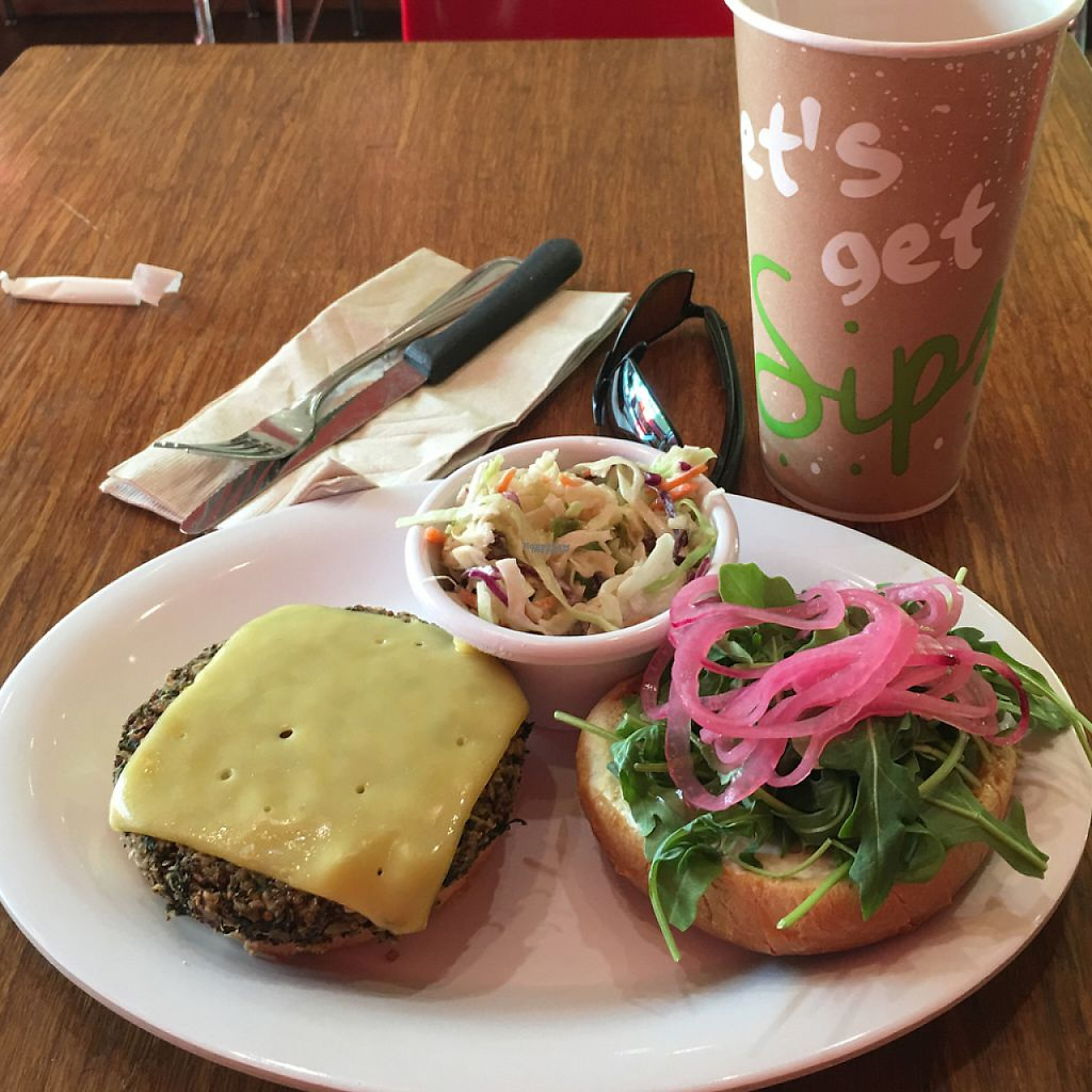 """Photo of Veggie Grill  by <a href=""""/members/profile/GazWatson"""">GazWatson</a> <br/>quinoa burger & kale.  <br/> August 4, 2016  - <a href='/contact/abuse/image/30324/218719'>Report</a>"""
