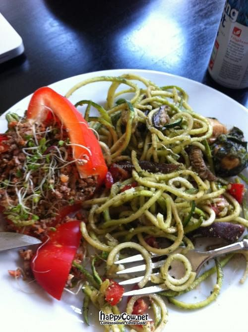 """Photo of CLOSED: Cafe L.O.V.E.  by <a href=""""/members/profile/Janeyhoward"""">Janeyhoward</a> <br/>stuffed bell pepper and zucchini pesto primavera <br/> May 12, 2012  - <a href='/contact/abuse/image/30337/31705'>Report</a>"""