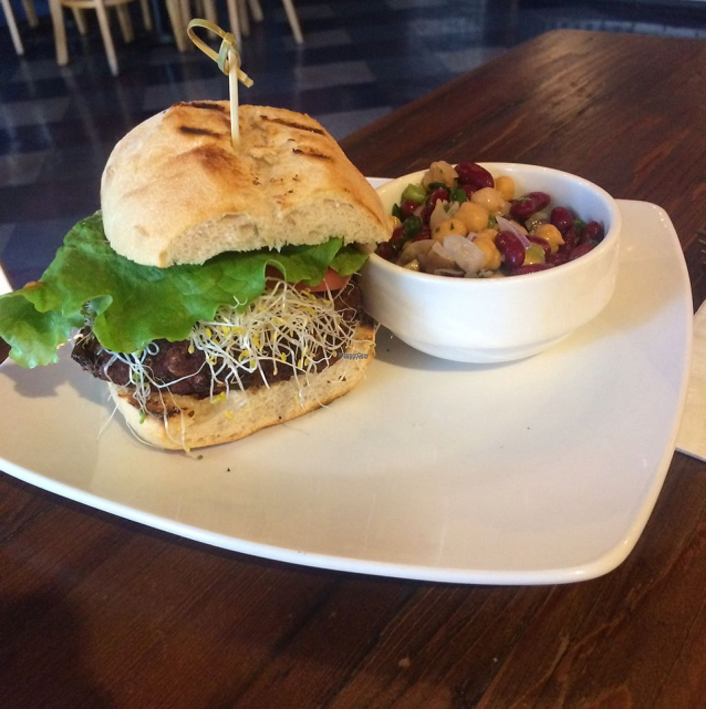 """Photo of The Cafe  by <a href=""""/members/profile/VeganDarling"""">VeganDarling</a> <br/>veggie burger <br/> February 15, 2017  - <a href='/contact/abuse/image/3033/226947'>Report</a>"""