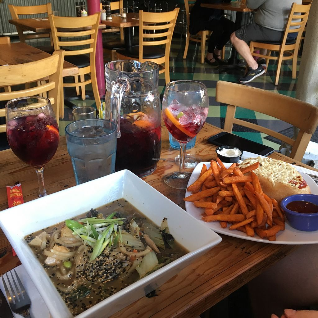 """Photo of The Cafe  by <a href=""""/members/profile/LinneaSahlgaard"""">LinneaSahlgaard</a> <br/>Sangria, ramen bowl, and super tasty meat bowl sub with sweet potato fries <br/> April 23, 2018  - <a href='/contact/abuse/image/3033/389766'>Report</a>"""